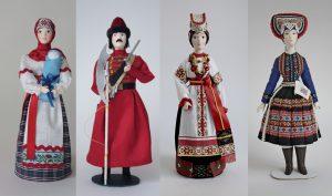 Сувенирные фарфоровые куклы: воронежский нацилнальный костюм, стрелец, словацкая женщина